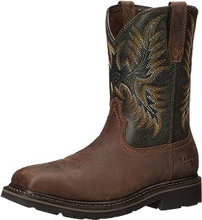 Ariat Men's Sierra Wide Square Steel Toe Work Boot, Dark Brown/Pine Green, 7.5 2E US