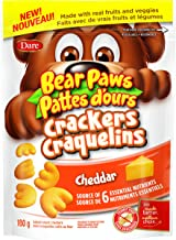 Bear Paws Bite-Sized Cheddar Crackers, Made with Real Fruits and Veggies, 180g Imported from Canada