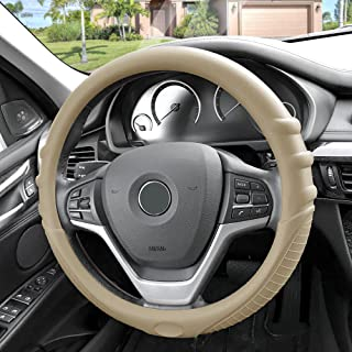 FH Group FH3003BEIGE Beige Steering Wheel Cover (Silicone W. Grip & Pattern Massaging grip Beige Color-Fit Most Car Truck Suv or Van)