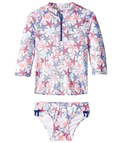 Hatley Kids Snazzy Starfish Rashguard Set (Toddler/Little Kids/Big Kids) (White) Girl