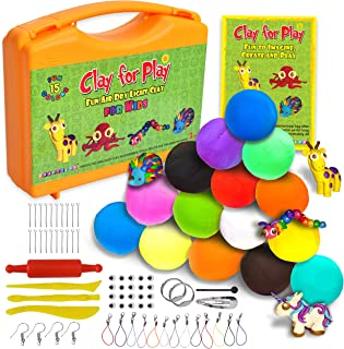 KRAFTZLAB Nontoxic Air Dry Clay Kit | Ideal Modeling Clay for Kids| 65 Piece Molding Clay Craft Kit | Super Soft Clay | 15 Colors |STEM Educational Set - Easy Instructions – Gift for Boys & Girls 5+