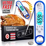 Alpha Grillers Instant Read Meat Thermometer for Grill and Cooking. Best Waterproof Ultra Fast Thermometer with Backlight & Calibration. Digital Food Probe for Kitchen