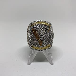 2017 Sydney Crosby #87 Pittsburgh Penguins High Quality PREMIUM Replica Stanley Cup Championship Ring Size 13.5-Silver Colored