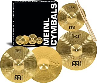 """جعبه بسته Meinl Cymbal Box با 13 """"Hihats، 14"""" Crash، Plus 10 """"Splash، Sticks، Lessons - HCS Brass سنتی - ساخته شده در آلمان ، 2-سال ضمانت MultiColor HCS1314-10S"""