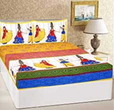 RajasthaniKart® Comfort Rajasthani Jaipuri Traditional Sanganeri Print 144 TC Cotton Double Size Bedsheet with 2 Pillow Covers -Yellow Ethnic,King