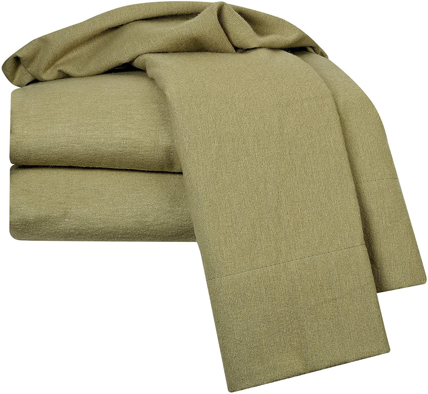 Nestl Bedding Heavyweight 100% Cotton Flannel Sheet Set, King - Sage Green - Luxurious Soft Hypoallergenic and Very Silky Bedding Fabric Enjoy A Comfortable Sleeping Experience