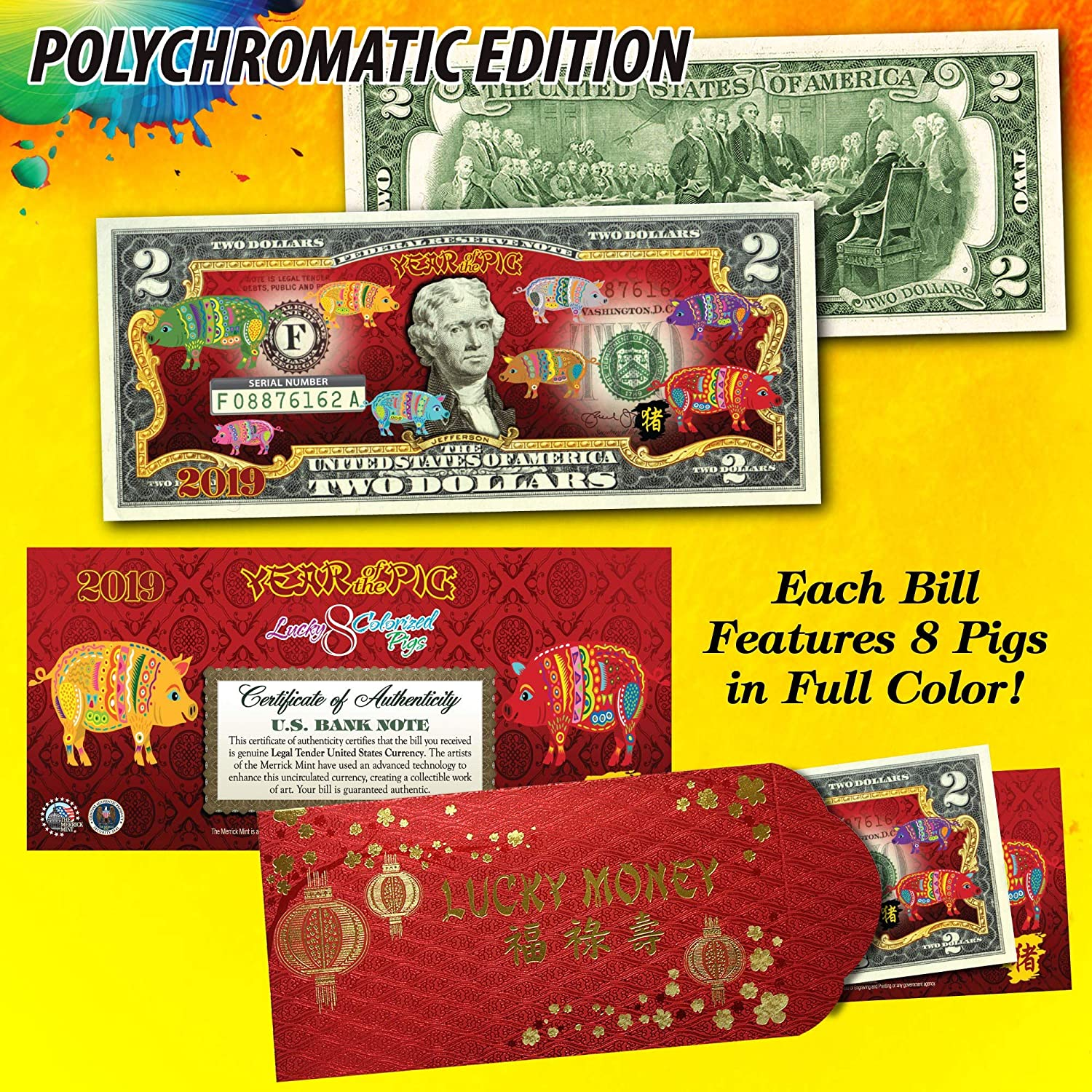 2019 CNY Lunar Chinese New Year Inventory cleanup selling sale Popular standard Pig of Polychromatic The Pigs 8