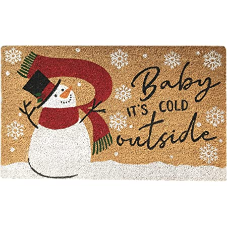 """Elrene Home Fashions Farmhouse Living Coir Outdoor Doormat, Natural Entry Mat, Front Door Decor, 18""""x30"""", Snowman Baby It's Cold Outside"""