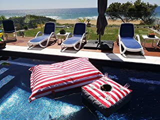 Floating 'Bean Bag' Drink Bar, Pool Caddy Float for Drinks, Stable with Deep Pockets. Enjoy Ice Cold Champagne, Cocktails, Wine, Beer, Snacks in Pool, Sea, Lake While Floating Around. (Navy)