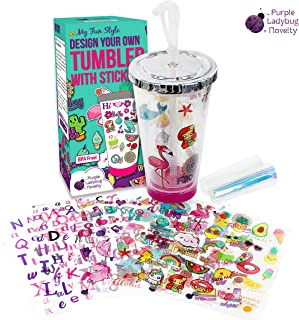 Create Your Own Personalized Tumbler for Girls with Waterproof Tumbler Stickers! Insulated Kids Tumbler with Lid and Straw   Makes a Great Gift for Gift, Fun DIY Art and Craft Kit for Children