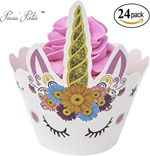 PINXIES Unicorn Cupcake Wrappers | Set of 24 | Unique Artist Design | Perfect for Your Unicorn Themed Birthday Party | Bab...