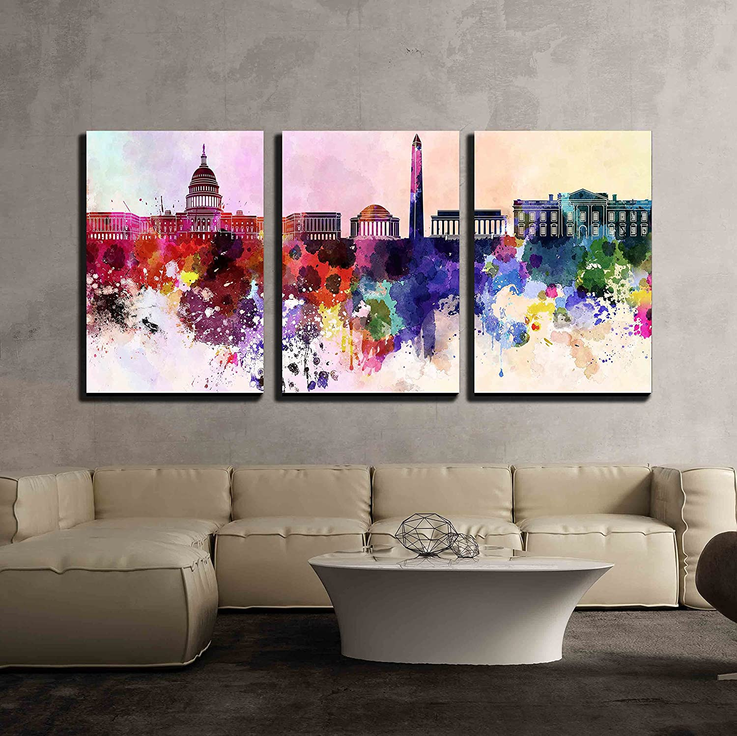 Wall26 - Washington DC in Watercolor - Canvas Art Wall Decor - 16 x24 x3 Panels