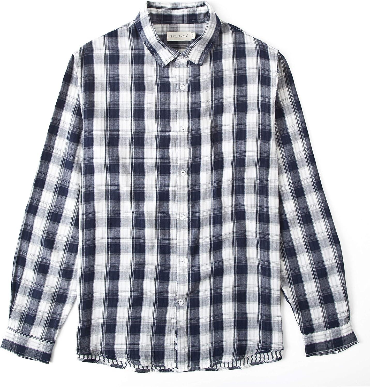 BYLUNTA Men's 100% Cotton Checker Long Sleeve Casual Button Up Shirt Regular Fit