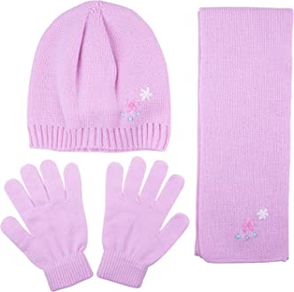 Scarf and Glove Set Child Large for Girls Kids Pattern Knit Hat with Bow