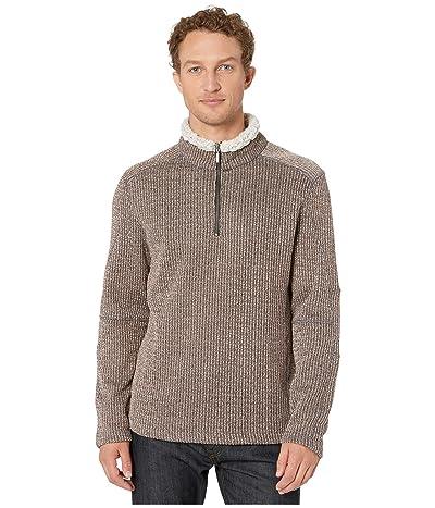 True Grit Melange Sweater Knit 1/4 Zip Pullover (Khaki) Men
