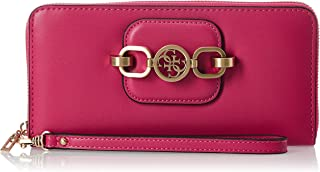 Guess Hensely Large Zip Around Wallet For Women, Fuchsia
