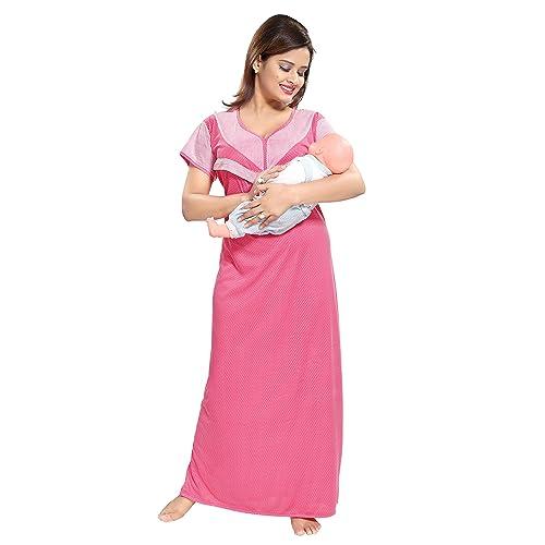 34a37cae75435 TUCUTE Women's Beautiful Dotted Print Feeding/Maternity/Nursing  Nighty/Nightwear.