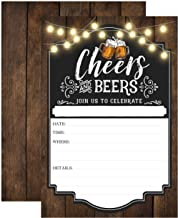 Cheers and Beers Birthday Invitation, Adult Birthday Party Invites, 30 years, 40 years, 50 years, 21 years, 20 Fill In Invitations With Envelopes
