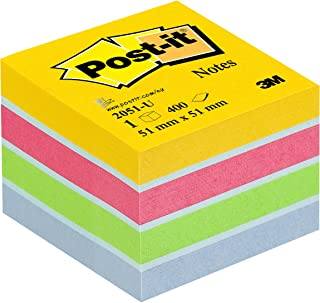 Post-It 2051-U - Papel para notas auto adhesivo (5.1 x 5.1 cm), Color Azul/Verde/Rosa/Amarillo