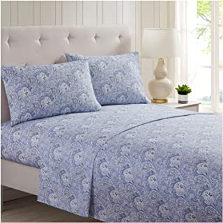Mellanni Bed Sheet Set Brushed Microfiber 1800 Bedding - Wrinkle, Fade, Stain Resistant - 3 Piece (Twin, Paisley Blue)