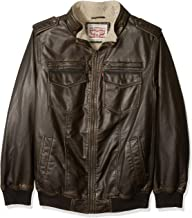 Levi's Men's Big and Tall Faux Leather Sherpa Lined Aviator Bomber Jacket