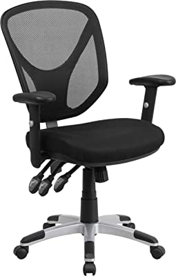 Flash Furniture Mid-Back Black Mesh Multifunction Swivel Ergonomic Task Office Chair with Adjustable Arms