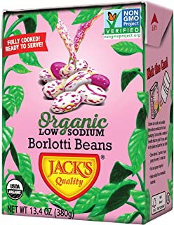 Jack's Organic Borlotti Beans (Italian Kidney Bean)– Filled w/ Protein & Fiber, Heart Healthy, Low Sodium, Non GMO, BPA Free, 100% Sustainable Packaging, Easy Open Tearstrip, [13.4oz cartons} 8-pack