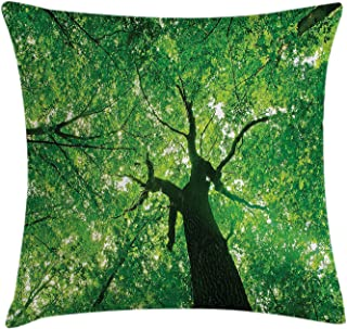 K0k2t0 Forest Home Decor Throw Pillow Cushion Cover by, Body of Tree Evergreen in The Nature Majestic Habitat Symbol Daylight Image, Decorative Square Accent Pillow Case, 18 X18 Inches, Green