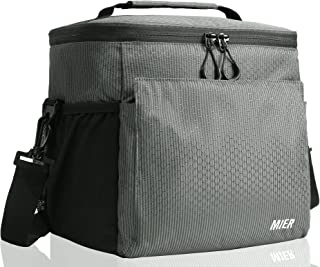 MIER Insulated Lunch Bag Men and Women Soft Cooler Lunch Box Tote with Shoulder Strap, Leakproof Liner, 24 Can,Dark Green