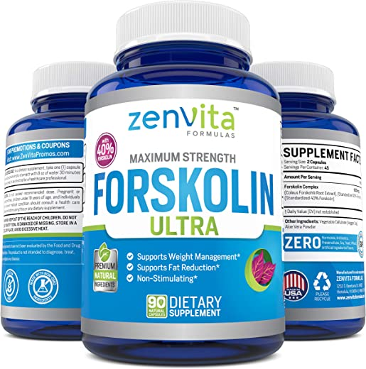 100% Pure Forskolin Extract 600mg - w/ 40% Standardized Forskolin for Maximum Strength Weight Loss   Effective Appetite Suppressant, Carb Blocker   Weight Loss Pills for Women & Men   90 Capsules