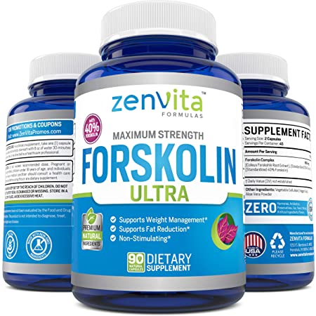 100% Pure Forskolin Extract 600mg - w/ 40% Standardized Forskolin for Maximum Strength Weight Loss | Effective Appetite Suppressant, Carb Blocker | Weight Loss Pills for Women & Men | 90 Capsules