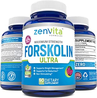 100% Pure Forskolin Extract 600mg - w/ 40% Standardized Forskolin for Maximum Strength Weight Loss | Effective Appetite Su...