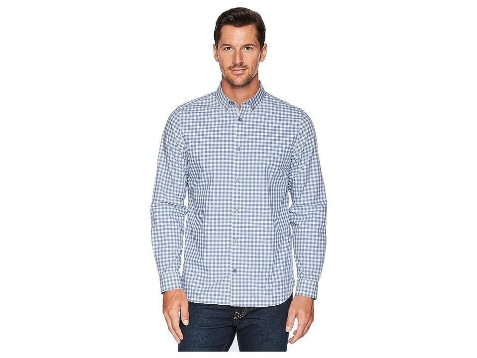 Calvin Klein Gingham Plaid Sport Shirt (Clear Sky) Men