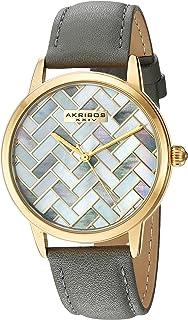 Akribos XXIV Women's Multi Color Dial Leather Band Watch - AK906GY