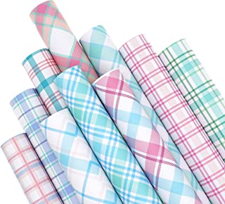 ZAIONE 10PCS/Set Pastel Color Plaid Printed Faux Leather Sheets Bundle12inch x 8inch Striped Printed Tartan Checked Synthe...