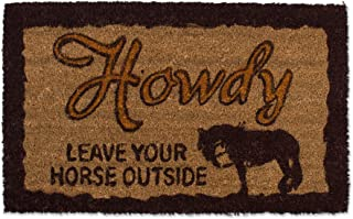J&M Home Fashions Natural Coir Coco Fiber Non-Slip Outdoor/Indoor Doormat, 18x30, Howdy Leave Your Horse