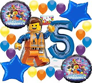 Lego Movie 2 Deluxe Balloon Decoration Bundle for (5th Birthday)