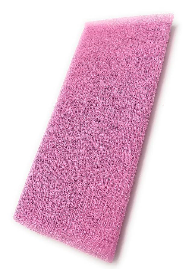の中で退却反抗Maltose あかすりタオル ボディタオル ロングボディブラシ やわらか 濃密泡 背中 お風呂用 メンズ 5色 (ピンク)