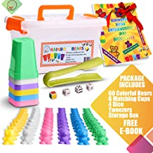 SET4kids Counting Bears with Matching/Sorting Cups, 4 Dice ,Tweezers and an Activity e-Book. for Toddlers and Early Childhood Education. 71 pc Game Set in Pastel Colors.