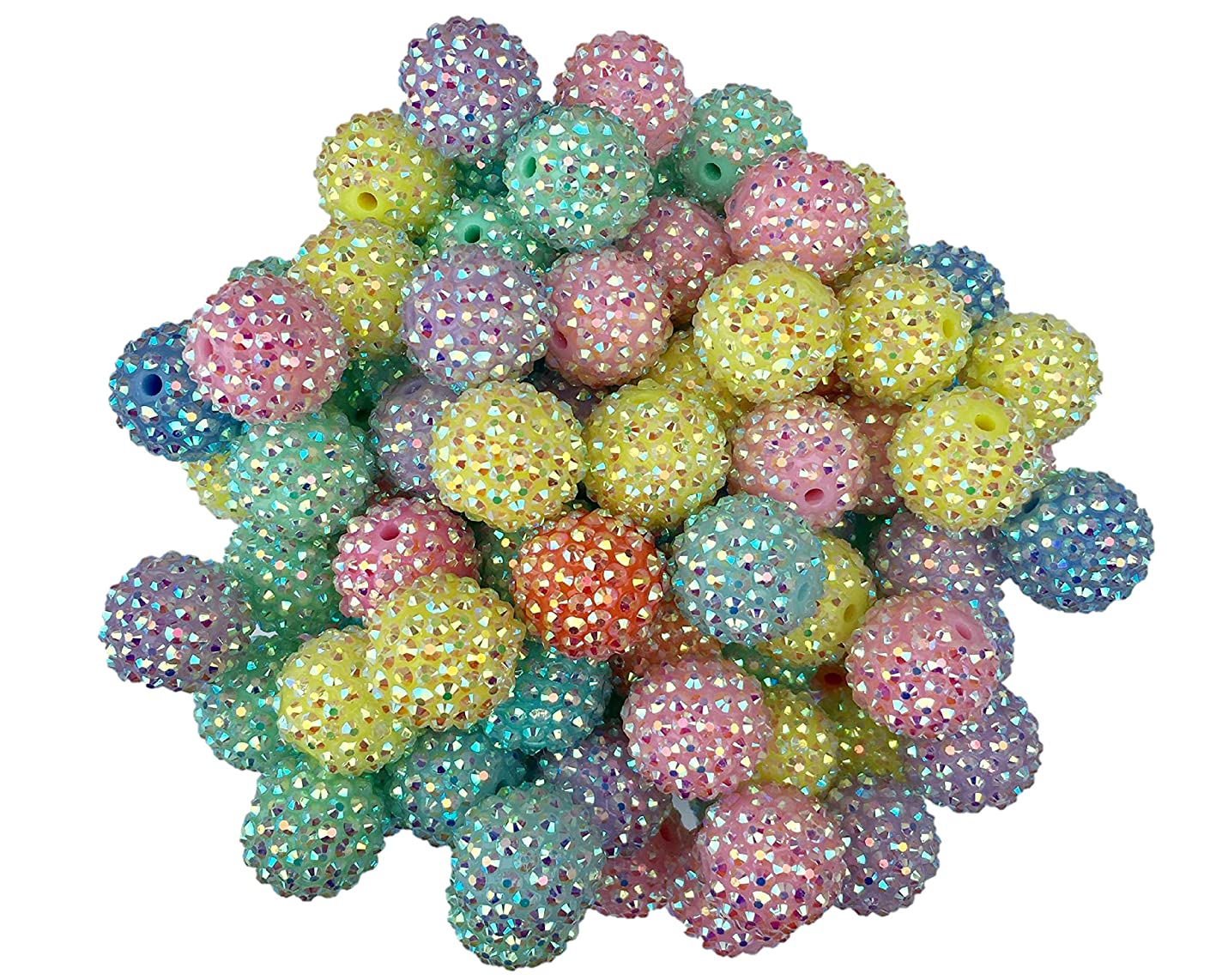 20mm Pastel Rhinestone Easter Beads 50 Count Mixed Pack Chunky Bubble Gum Beads
