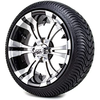 Amazon Com 14 Vampire Machined Black Golf Cart Wheels And Low Profile Tires Combo Set Of 4 Automotive