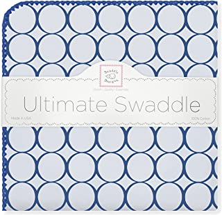 SwaddleDesigns Ultimate Swaddle, X-Large Receiving Blanket, Made in USA Premium Cotton Flannel, True Blue Jewel Tone Mod Circles (Mom's Choice Award Winner)