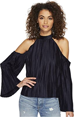 J.O.A. - Cold Shoulder Pleated Top
