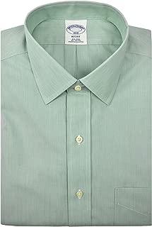 Brooks Brothers Men's Regent Fit Mini Striped Non Iron Dress Shirt Green White