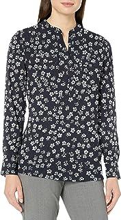 Amazon Brand - Lark & Ro Women's Sheer Utility Long Sleeve Band Collar Tunic Shirt