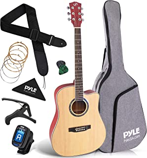 "Beginner 41"" Cutaway Acoustic Guitar - Standard Full Size 6 String Dreadnought Natural Matte Finish w/ Gig Bag, Tuner, Ste..."