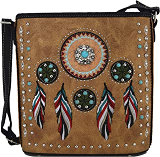 Native Tribal Feather Conchos Cross Body Handbags Concealed Carry Purse Country Women Single Shoulder Bag
