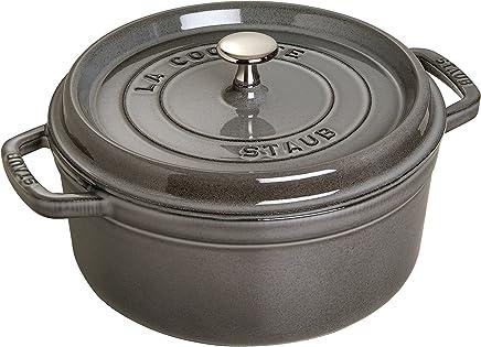 STAUB 珐琅铸铁锅1101818圆形带盖 18 cm, 1,7L,内部亚光黑珐琅材质,石墨灰
