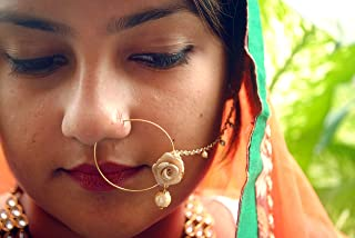 Abhika Creations White Dangling Pearl Nath, Golden Rose With Pearl Beaded Chain Traditional Indian Nose Ring