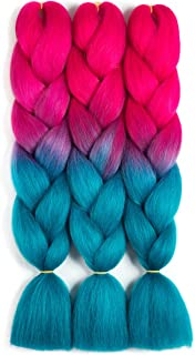 SONNET Synthetic Ombre Jumbo Braiding Hair 3bundles/lot 300g Kanekalon Fiber Hair Extension for Box Twist Braiding with 10pcs Free Decoration Dreadlock Deads (Peach-Red/Lake-Blue)